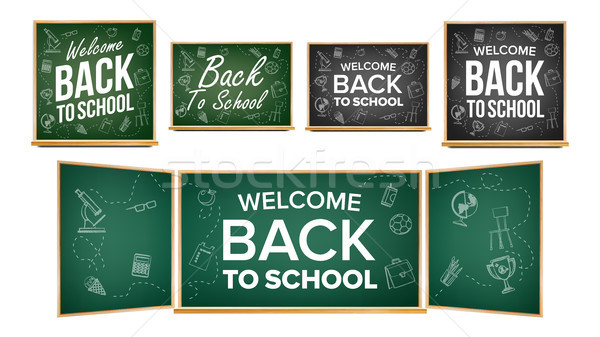 Back To School Banner Design Vector. Classroom Chalkboard, Blackboard. Doodle Icons. Sale Background Stock photo © pikepicture
