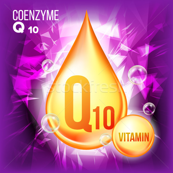 Vitamin Q10 Coenzyme Vector. Organic Vitamin Gold Drop Icon. Medicine Liquid, Golden Substance. For  Stock photo © pikepicture