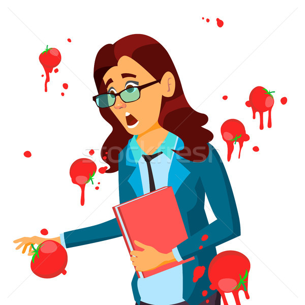 Business Woman Having Tomatoes From Crowd. Fail Speech Vector. Unsuccessful Presentation. Bad Public Stock photo © pikepicture
