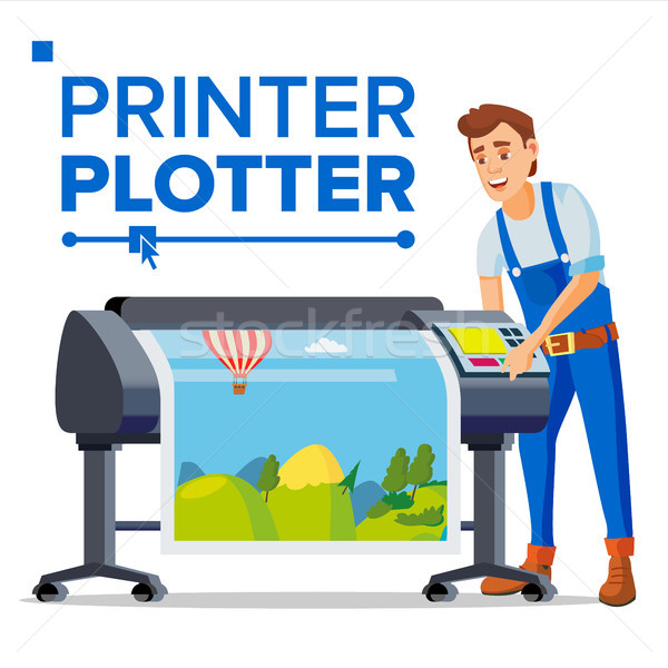 Werknemer plotter vector man groot formaat Stockfoto © pikepicture