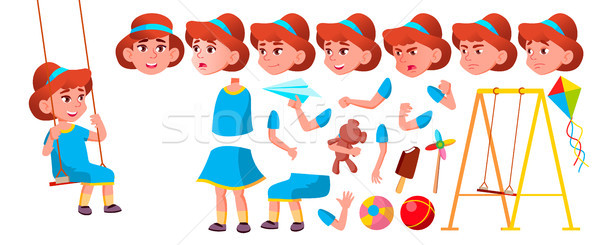 Girl Kindergarten Kid Vector. Animation Creation Set. Face Emotions, Gestures. Emotional Character P Stock photo © pikepicture