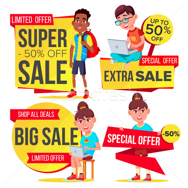 Big Sale Banner Set Vector. School Children, Pupil. Template For Advertising. Discount Tag, Special  Stock photo © pikepicture