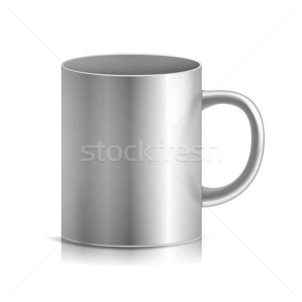 Metal fincan kupa vektör 3D gerçekçi Stok fotoğraf © pikepicture