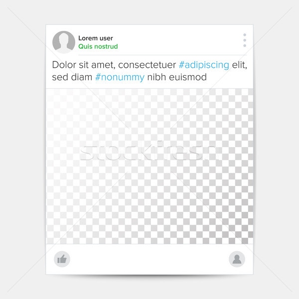Social Photo Frame Template Vector. Transparent. Message, Share, Like, Notification. App Media Illus Stock photo © pikepicture