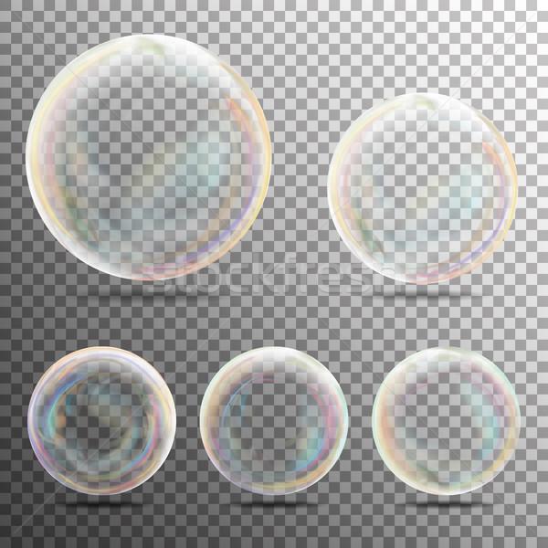Valósághű szappanbuborékok szivárvány tükröződés átlátszó szappanbuborék Stock fotó © pikepicture