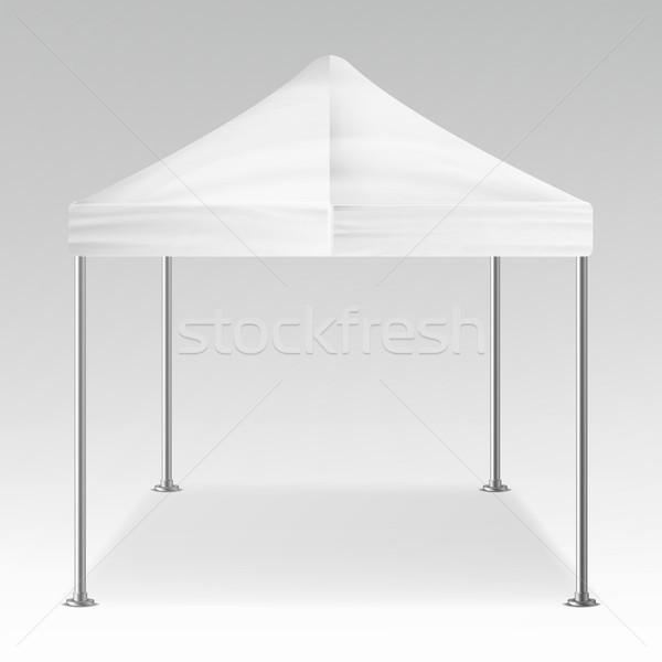 Stock fotó: Fehér · sátor · szabadtér · vektor · vázlat · promóciós