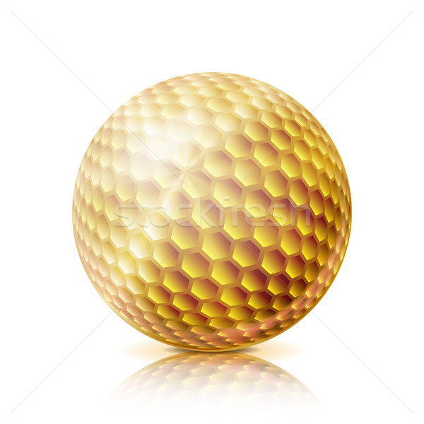Gold Golf Ball. 3D Realistic Vector Illustration. Isolated On White Background. Stock photo © pikepicture