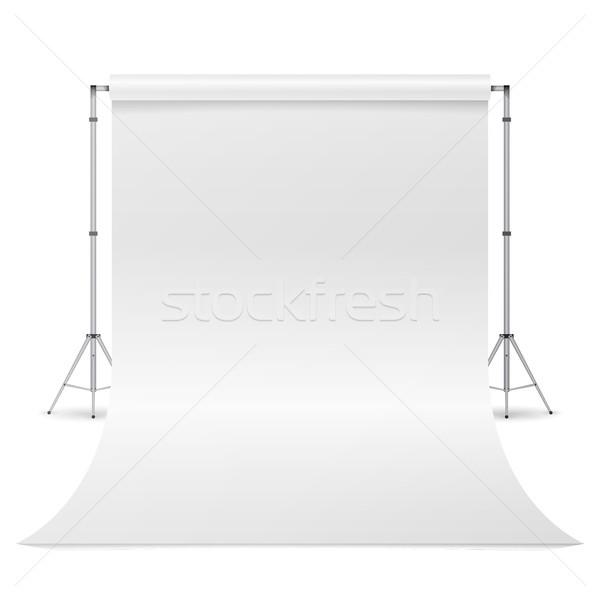 Stock fotó: Fotózás · stúdió · vektor · tiszta · fehér · vászon