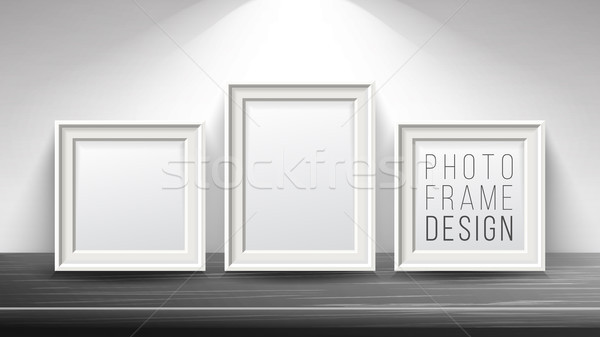 Realistic Blank Picture Frame Vector. Light Wood and Dark Wood Picture Frames Mock Up. Wooden Table  Stock photo © pikepicture