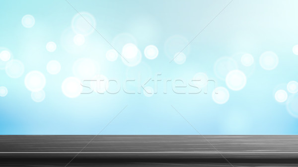 Wood Table Top Vector. Blue Bokeh Background. Empty Smooth Wooden Deck Table. Abstract Lights On Gol Stock photo © pikepicture