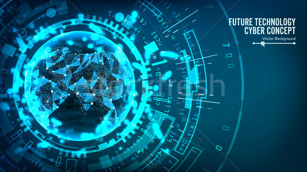 Futuristic Technology Connection Structure. Vector Abstract Background. Future Cyber Concept. Digita Stock photo © pikepicture