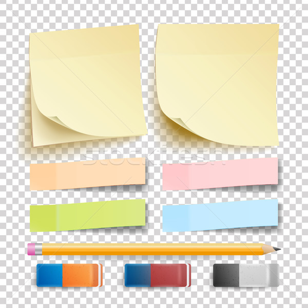 Post Note Sticker Vector. Isolated Set. Eraser And Pencil. Good For Advertising Design. Rainbow Memo Stock photo © pikepicture