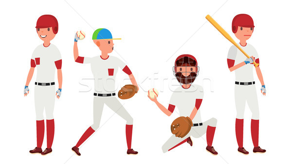Sport Baseball Player Vector. Classic Uniform. Player Pitching On Field. Dynamic Action On The Stadi Stock photo © pikepicture