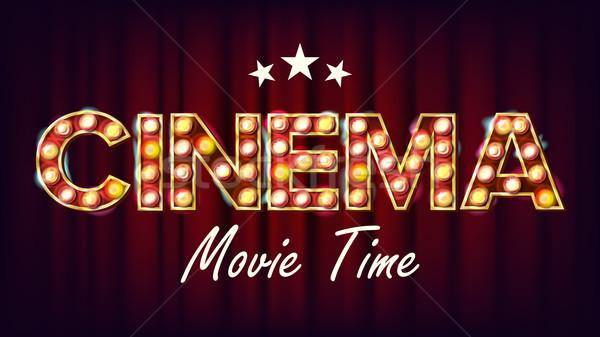 Cinema filme tempo bandeira vetor vintage Foto stock © pikepicture