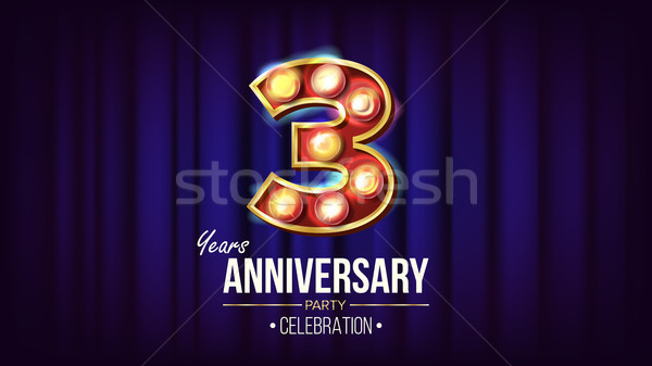 3 Years Anniversary Banner Vector. Three, Third Celebration. Vintage Golden Illuminated Neon Light N Stock photo © pikepicture