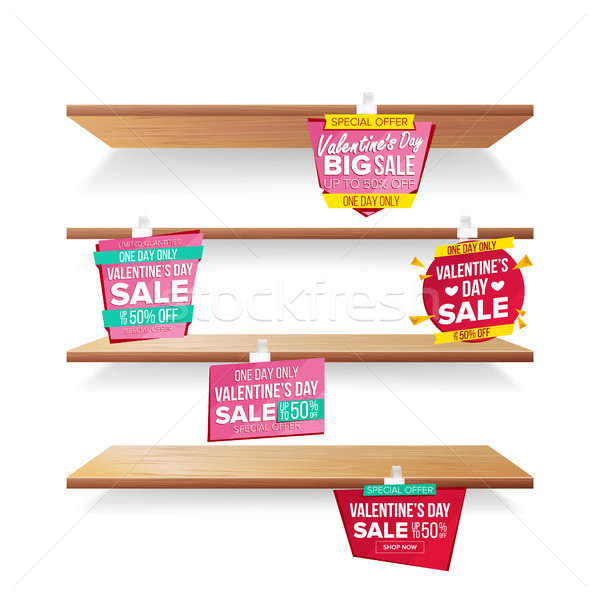 Supermarket Shelves, Valentine s Day Sale Advertising Wobblers Vector. Retail Sticker Concept. Mega  Stock photo © pikepicture