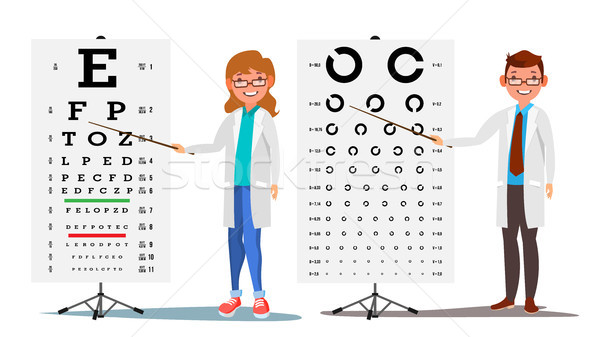 Ophthalmology Doctor Set Vector. Female, Male. Medical Eye Diagnostic. Eye Test Chart In Clinic. Dia Stock photo © pikepicture