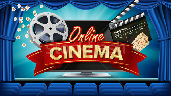 Online Cinema Banner Vector. Realistic Computer Monitor. Movie Brochure Design. Theater Curtain. Tem Stock photo © pikepicture
