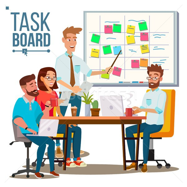 Business Characters Team Work Vector. Planning Team Work At The Scrum Board. IT Startup. Isolated Fl Stock photo © pikepicture