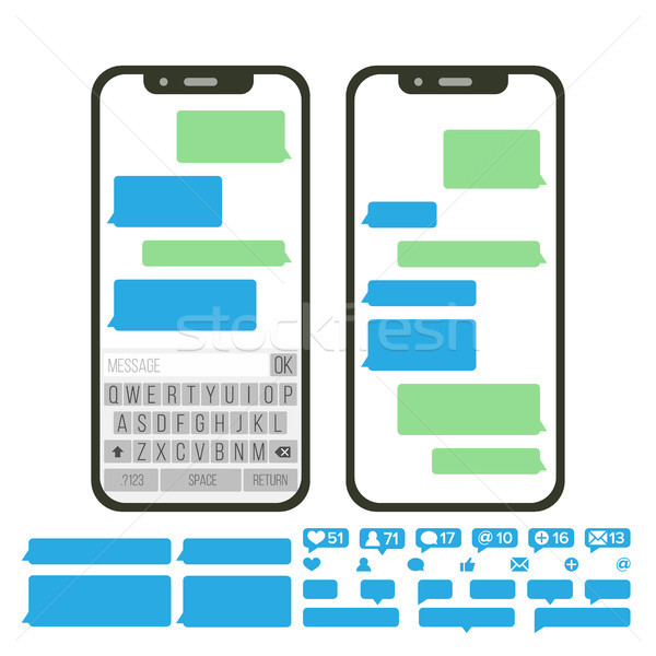 Mobile Screen Messaging Vector. Chat Bot Bubbles Set. Mobile App Messenger Interface. Communication  Stock photo © pikepicture