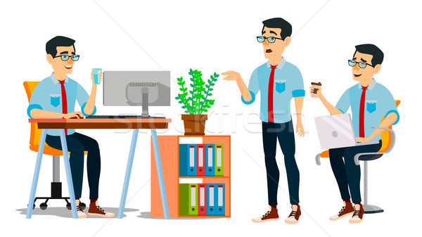 Homme d'affaires personnage vecteur travail asian homme Photo stock © pikepicture