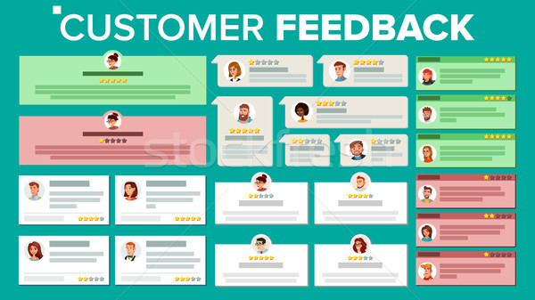 Customer Feedback Vector. Business Positive, Negative Review. Store Quality Work. Testimonials Notif Stock photo © pikepicture