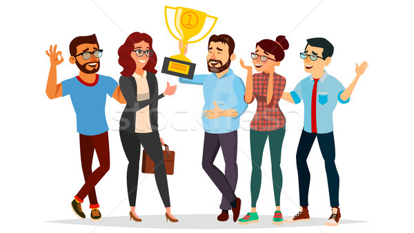 Business People Attainment Vector. Achievement Concept Vector. Businessman Leader Holding Winner Cup Stock photo © pikepicture