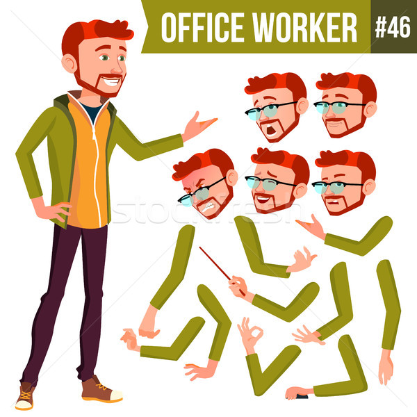 Office Worker Vector. Red Head. Face Emotions, Various Gestures. Animation Creation Set. Businessman Stock photo © pikepicture