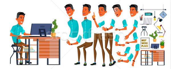 Office Worker Vector. Face Emotions, Various Gestures. Animation Creation Set. Business Person. Care Stock photo © pikepicture