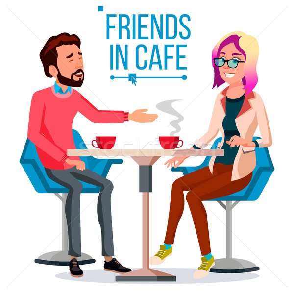 Couple In Restaurant Vector. Friends Or Boyfriend, Girlfriend. Man And Woman. Sitting Together And D Stock photo © pikepicture