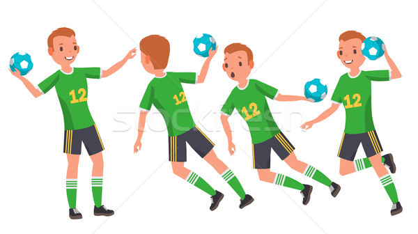 Handball Young Man Player Vector. Man. Sport Event. Energy, Aggression. Flat Athlete Cartoon Illustr Stock photo © pikepicture