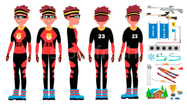 Biathlon Player Male Vector. Ski Race Skier Athlete. Ski Tracks. Winter Games. Isolated Flat Cartoon Stock photo © pikepicture