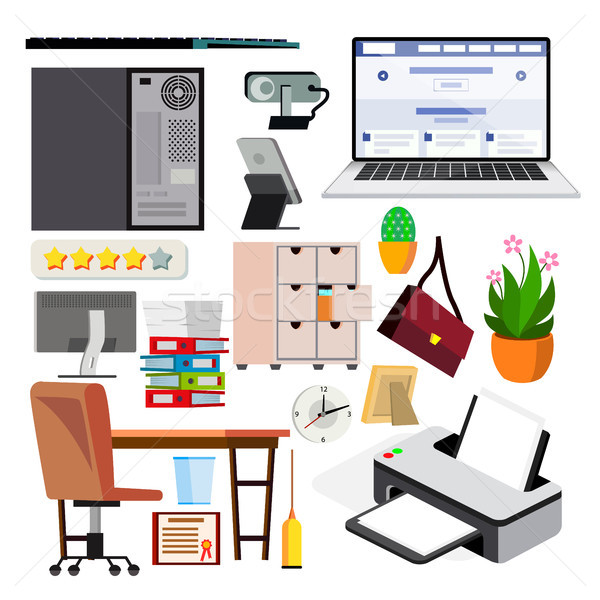 Equipo de oficina establecer vector ordenador portátil supervisar Foto stock © pikepicture