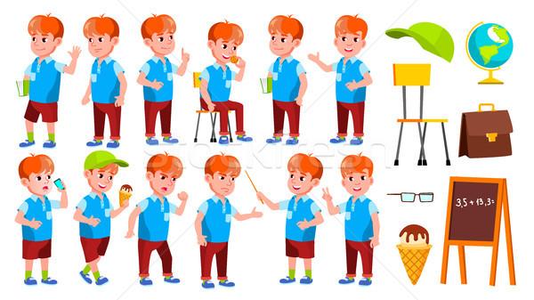Menino estudante criança conjunto vetor escola primária Foto stock © pikepicture