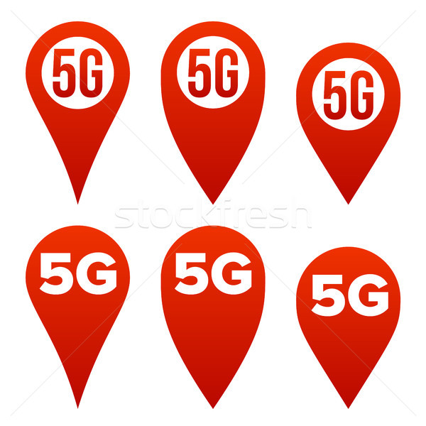 5G Pointer Sign Set Vector. Red Icon. Internet Wi-Fi Connection Standard. Speed Sign. Wireless Inter Stock photo © pikepicture