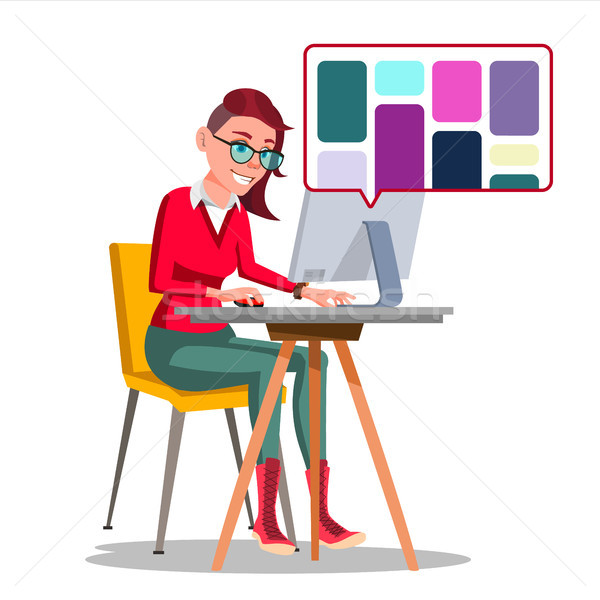 Graphic Designer Working Vector. Woman Searching For References On Popular Creative Web Site. Freela Stock photo © pikepicture