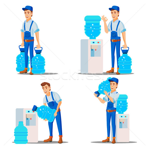 Water Delivery Service Man Set Vector. Treatment. Office Drink In Plastic Bottles. Water Cooler Rent Stock photo © pikepicture