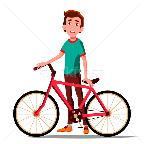 Teen Boy With Bicycle Vector. City Bike. Outdoor Sport Activity. Eco Friendly. Isolated Illustration Stock photo © pikepicture