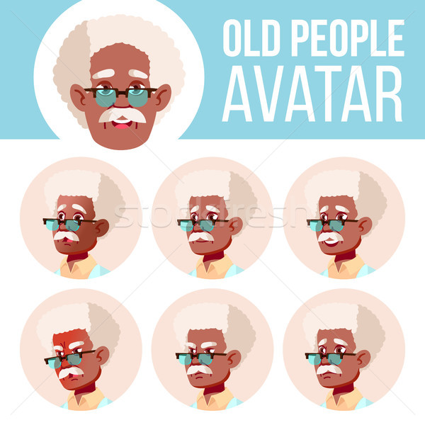 Old Man Avatar Set Vector. Black. Afro American. Scientist, Doctor. Face Emotions. Senior Person Por Stock photo © pikepicture