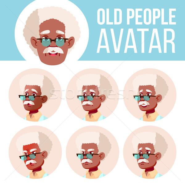 Idős férfi avatar szett vektor fekete afro Stock fotó © pikepicture