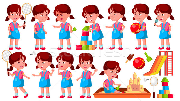 少女 幼稚園 子供 セット ベクトル 幼稚園 ストックフォト © pikepicture
