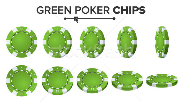Green Poker Chips Vector. Realistic Set. Poker Game Chips Sign Isolated On White Background. Flip Di Stock photo © pikepicture