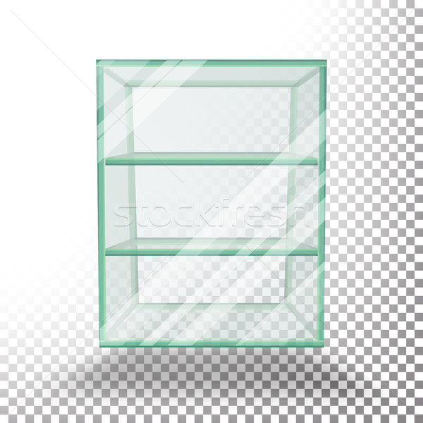 Empty Transparent Glass Box Cube Vector. 3D Realistic Glass Showcase With Shelves. Stock photo © pikepicture