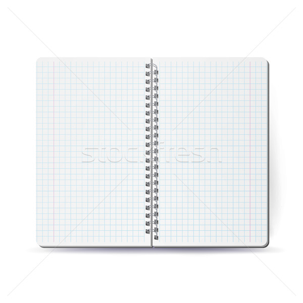Opened Notebook With Coil Spiral. Vector Spiral Notepad. Clean Mock Up For Your Design. Vector illus Stock photo © pikepicture
