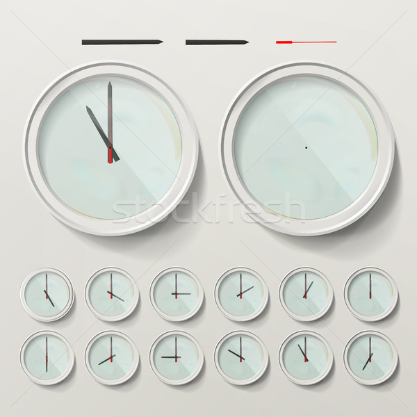 Realistic Wall Clocks Set Vector Illustration. Wall Analog Clock. Realistic Second Minute Hour Stock photo © pikepicture