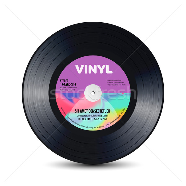 Vinyl Disc With Shiny Grooves. Old Retro Records. Isolated Vector Illustration. Stock photo © pikepicture