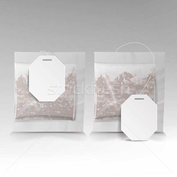 Сток-фото: чай · мешки · иллюстрация · Этикетки · квадратный · форма