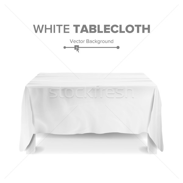 White Table With Tablecloth Vector. Empty 3D Rectangular Table Isolated. Illustration Stock photo © pikepicture