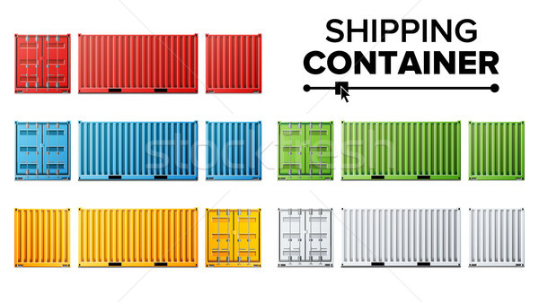 Shipping Cargo Container Set Vector. Freight Shipping Container Concept. Logistics, Transportation.  Stock photo © pikepicture