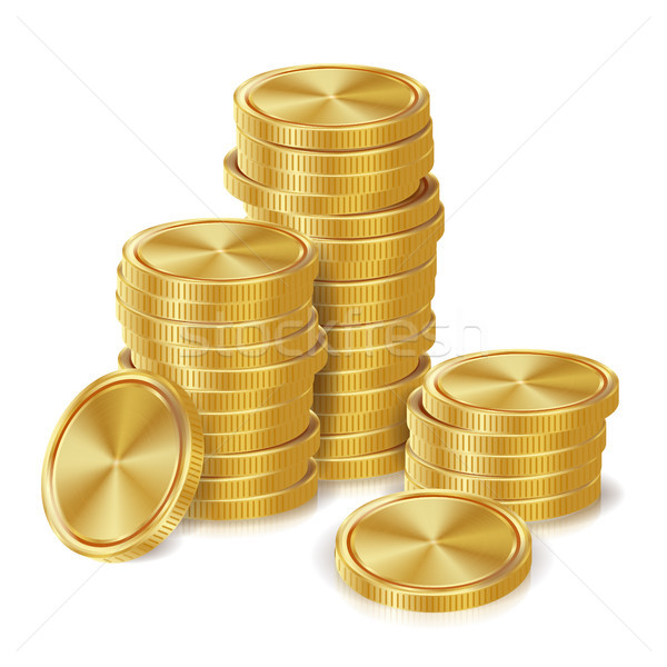Photo stock: Pièces · d'or · vecteur · or · Finance · icônes · signe